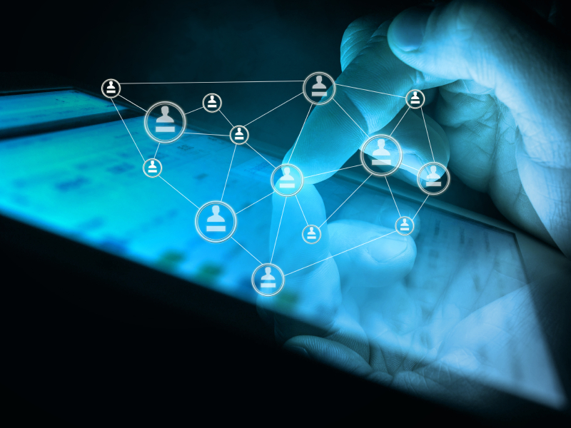 digital tablet in hand, social media concept