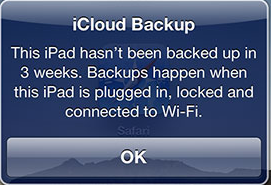 icloud backup message in ipad